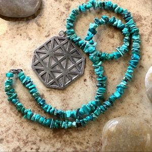 Turquoise Nugget Necklace Sterling Medallion